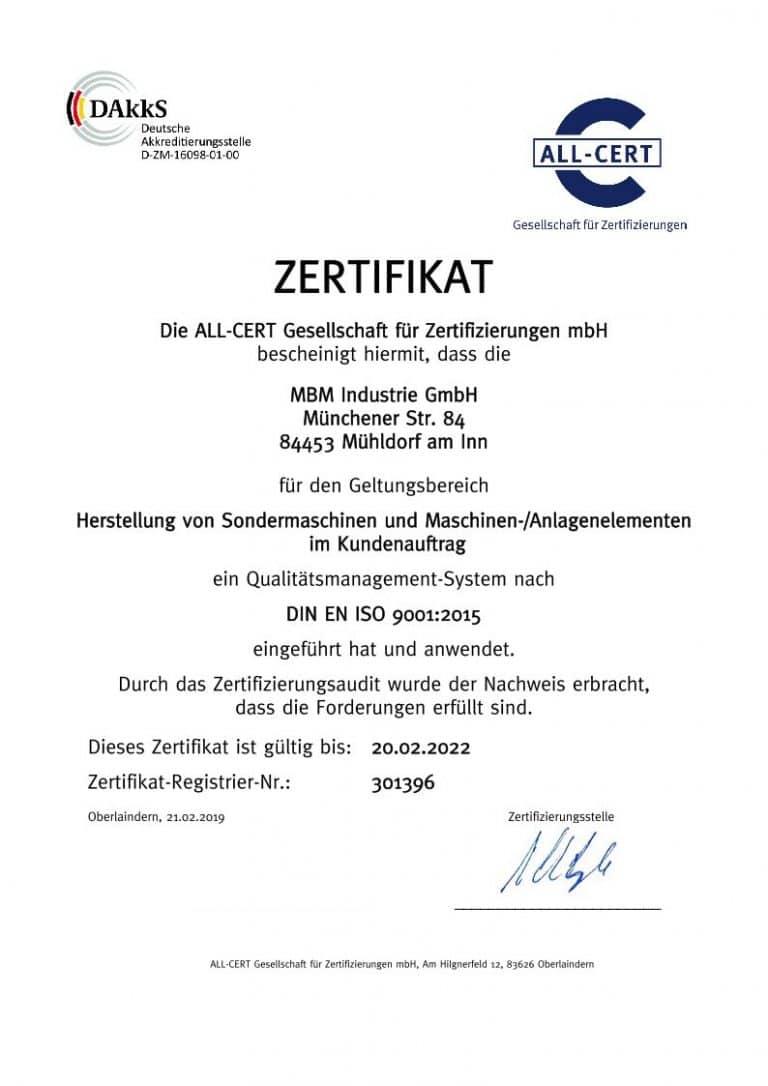 DIN EN ISO 9001:2015 gültig bis 20.02.2022