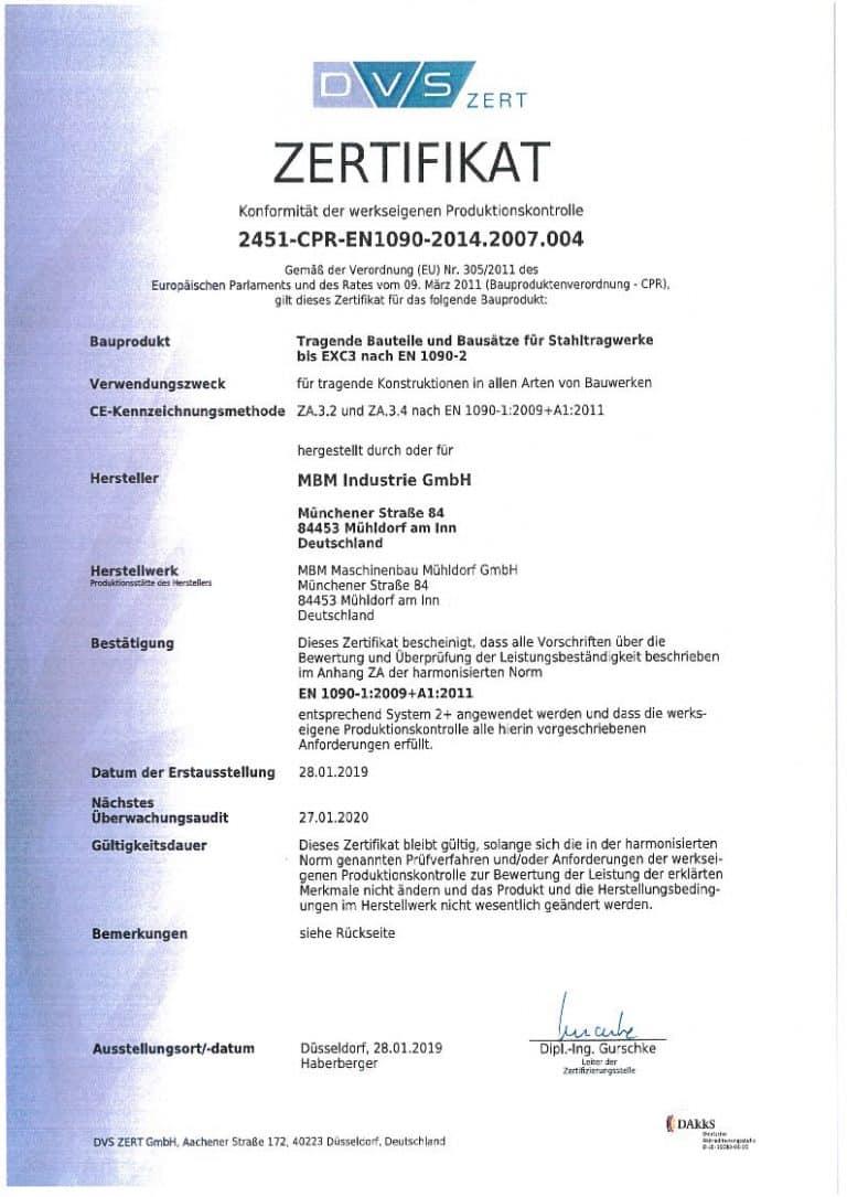 Produktionskontrolle 2451-CPR-EN1090-2014.2007.004 gültig bis 27.01.2020