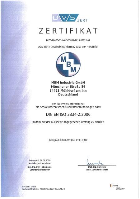 schweißtechnische Qualitätsanforderungen DIN EN ISO 3834-2:2006 gültig bis 27.01.2022