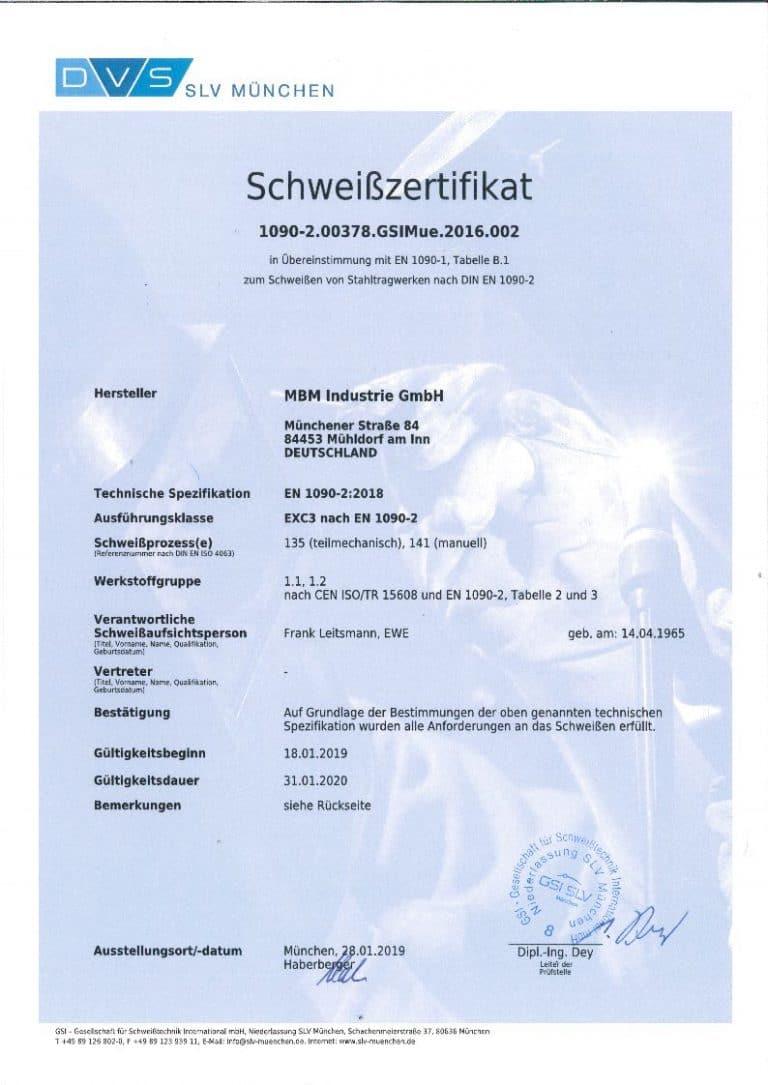 Schweißzertifikat EN 1090-2:2018 gültig bis 31.01.2020