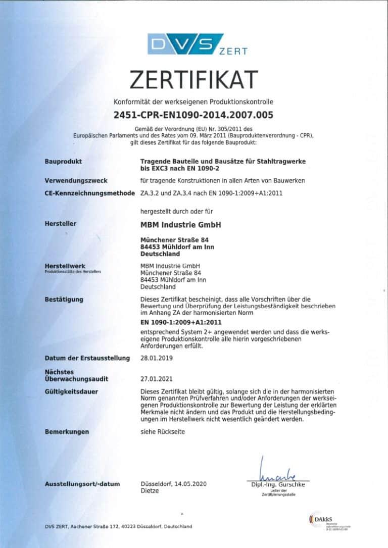 Produktionskontrolle 2451-CPR-EN1090-2014.2007.005 gültig bis 27.01.2021