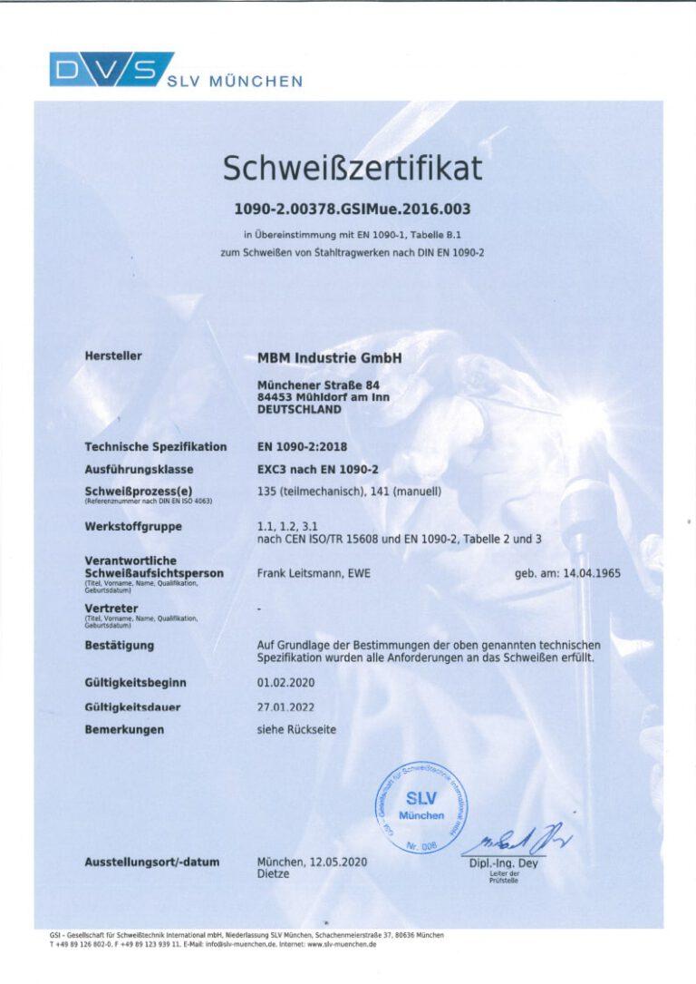 Schweißzertifikat EN 1090-2 gültig bis 27.01.2022